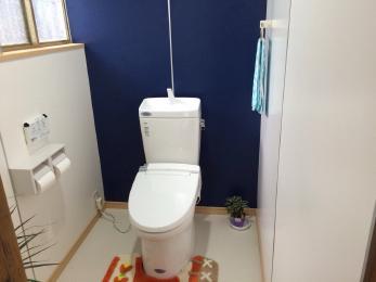 昔ながらある和式の大、小別れたトイレを広々一部屋の洋式トイレにリフォームしました。壁のパネルの配色も大変気に入って頂けました。