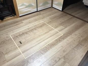 畳の厚み55mmを活かして下地を作り、フローリングにすることで段差の解消ができました。